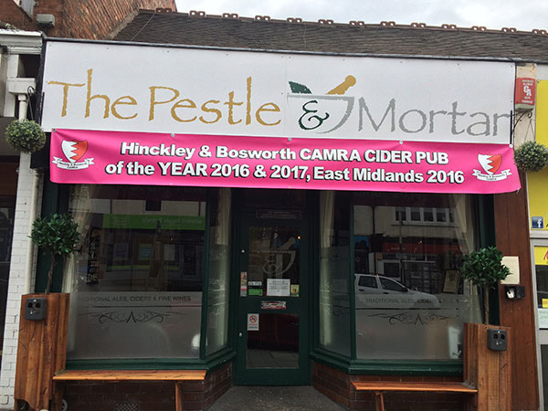 Outside the Pestle and Mortar microput in Hinckley